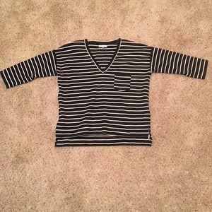 NWOT Madewell Striped V Neck Blouse